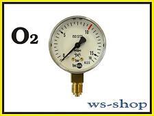 """Manometer 1/4"""" für Druckminderer Druckregler Sauerstoff O2 Autogen (0 - 16 bar)"""
