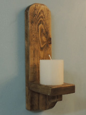 PAIR of 38CM RUSTIC SOLID WOOD  GOTHIC ARCH WALL SCONCE CANDLE HOLDER