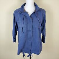 Style & Co. Jacket Zip-Up Roll-Tab-Sleeve Uniform Blue Women's Size S Small NWT