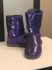 UGG CLASSIC SHORT SEQUIN SPARKLE SHEARLING PURPLE BOOTS WOMEN SIZE 7