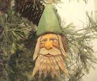 "4"" Hand Carved Basswood Heirloom Belsnickle Green Hat Santa Ornament / Salinas"