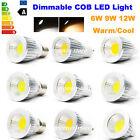 Dimmable LED E27 GU10 MR16 6W 9W 12W COB Spotlight Downlight Warm Day White Bulb