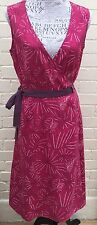 White Stuff Leaf Print Linen Mix Pink Purple Sleeveless Wrap Dress Ties Size 12