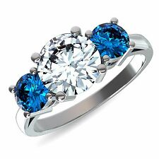 14k White Gold 1.50 Ct Solitaire Diamond With Blue Sapphire Bridal Ring Solid