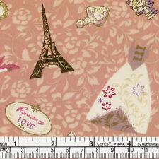 Cotton Fabric per FQ France Paris Eiffel Floral Bouquet Wedding Dress Shoes VA33