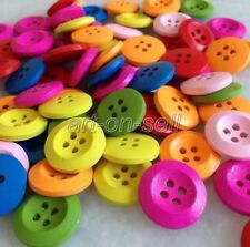 100Pcs 18mm Round Colored Mixed Wood Buttons Scrapbooking Sewing Craft ank208