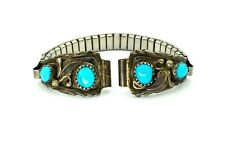 Vintage Native American Navajo Sterling Silver Turquoise Womans Watch Tips
