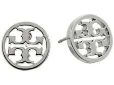 Tory Burch Classic SILVER Circle Logo Stud Earrings - Retail $78-  w/ GIFT BOX