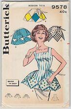 Apron Pattern Diamond Applique Vintage Butterick 9578 Misses Size Medium 14 16