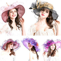 Wide Brim Kentucky Derby Sun Hat Women Wedding Tea Party Elegant Church Cap Hot