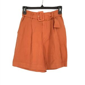 A. New. Day Womens Small S Belted High-Rise Shorts Elasticized Orange NEW