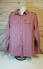 Marc Ecko Cut & Sew Red White Gingham Long Sleeve Button Up Dress Shirt Size L