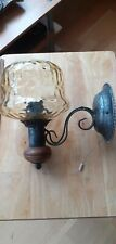 WALL LIGHT RUSTIC STYLE WOOD AND WROUGHT IRON INTERNAL SWITCH. EX COND.