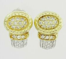 Judith Ripka Two 925 Silver 18K Yellow Gold 0.3 ct Round Diamond Hugger Earrings