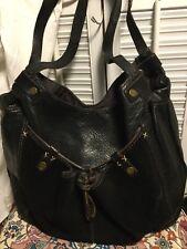LUCKY BRAND Black Leather & Suede Studded Hobo Shoulder Handbag