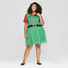 Christmas Sweater Dress Womens Large L Elf Tulle peppermint funny ugly Bells
