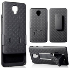 BLACK RUBBERIZED KICKSTAND CASE COVER + BELT CLIP HOLSTER STAND FOR ONEPLUS 3