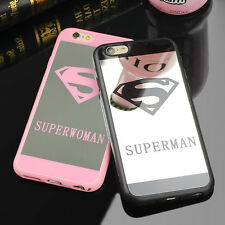 Superman Mirror Case for iPhone 6 7 Plus Rubber Cover for iPhone X 5 5s 8Plus