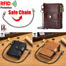 Bullcaptain Men Wallet Genuine Leather Purse RFID Coins Card Holder Metal Chain