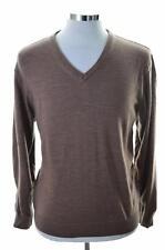 Daniel Hechter Mens Jumper Sweater Size 50 Medium Brown New Wool