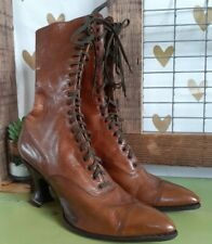 Victorian Antique Tall Leather Lace up Boots Spool Heel Women's Brown Edwardian