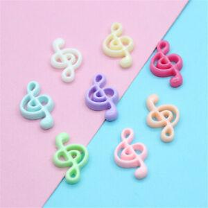 20 pcs Multicolors Resin Flatback Musical Note DIY Craft Making Decors 21x14mm
