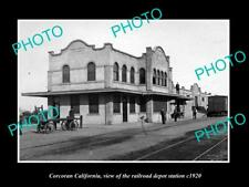 OLD 8x6 HISTORIC PHOTO OF CORCORAN CALIFORNIA RAILROAD DEPOT STATION c1920