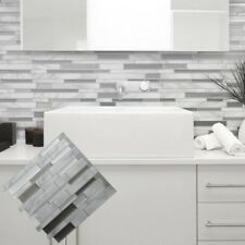 White Grey Marble Mosaic Peel and Stick 3D Wall Tile Self adhesive Home Decal