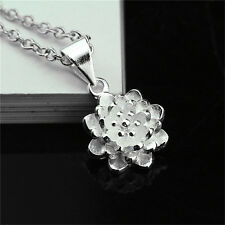 925 Sterling Silver Plated lotus flower Pendant Necklace Wedding Party Gift P014