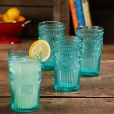 New Pioneer Woman Adeline 16 Ounce Emboss Glass Tumblers Set Of 4 in Turquoise