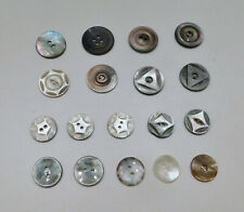 Lot 18 Vintage Mother-of-Pearl Shell Buttons Carved Designs 2-Hole Sets Singles