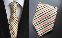 Yellow Tie Orange and Brown Patterned Handmade 100% Silk Wedding Necktie
