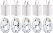 5X White Home Wall AC Charger for  iPhone 8 7 5S 6 XS Data Sync USB Cable Cord
