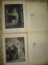 2- 1853 Photogravures Engravings- H. Briggs-Juliet & Nurse/ The Casement- Newton
