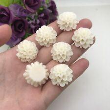 6pcs BEIGE Chrysanthemum Flowers Resin Rose Bobby Pin Charms 20mm #