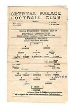 Crystal Palace v Watford Reserves Programme 15.11.1958