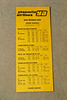 Yosemite Airlines - Quick Reference Card - Jan 14, 1980