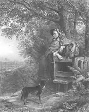 Poor COUNTRY GIRL looks to Dreams of Big LONDON City ~ 1865 Art Print Engraving