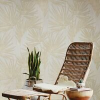 Beige bamboo lines textured Wallpaper floral leaf jungle tropical palm leaves 3D