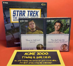 Star Trek TOS Archives & Inscriptions - 98 CARD BASE SET + BOX & EMPTY PACKS