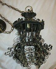 Vintage Spanish Revival Boho Hanging Lamp Swag Filigree Metal Lantern Gothic
