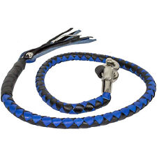Motorcycle Get Back Whip Leather 42 Inch Long Blue Black Harley Universal