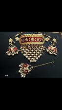High quality  kundan Meenakari Pearl Drops Choker  Bridal  Indian Jewellery Set