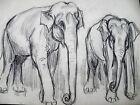 FERNEL Dessin Original 2 ELEPHANTS Animaux CIRQUE GALA UNION des Artistes ca1925