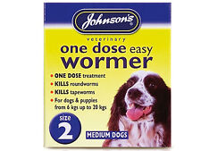 Johnsons Veternary One Dose Easy Dog Wormer Size 2 - 6kg to 20kg 5000476020521