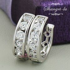 18K 18CT White GOLD GF SWAROVSKI w/Lab DIAMOND Huggie EARRINGS 3.9gram SEX443
