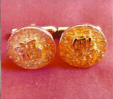 CHINESE GOOD LUCK, GOOD FORTUNE SET 14K SOLID GOLD CUFFLINKS