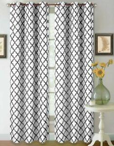 "New Gorgeous Home Black/White Grommet Blackout Single Window Curtain 36"" X 108"""