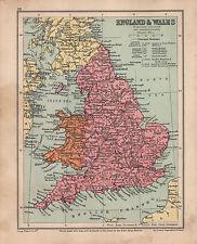 1934 MAP ~ ENGLAND & WALES ~ WITH PRINCIPAL RAILWAYS YORK DURHAM LONDON ESSEX