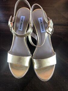 Steve Madden DAASH Gold Strappy Rope Wedge Heel Sandal Shoes Women's 8.5 M